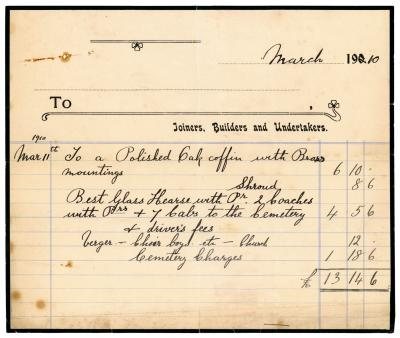 Undertaker's bill for coffin and funeral, 1910
