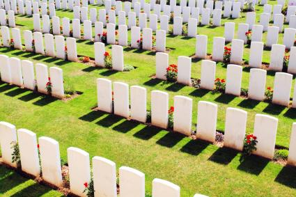 White Tombstones In Military Graveyard