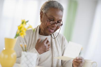 Woman touched by sympathy card message