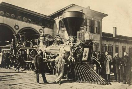 President Abraham Lincoln's funeral train stopped along route