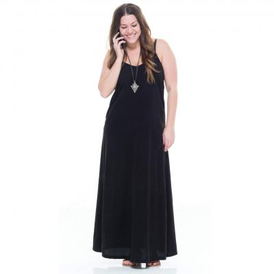 lady in black sleeveless maxi dress
