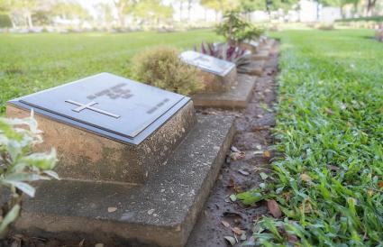 Graves in graveyard