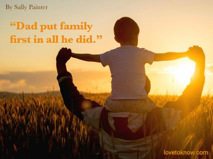 Celebration of life quote for a Dad