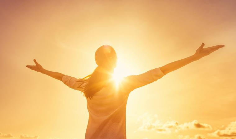 Woman feeling full of positive energy