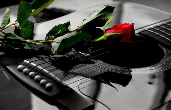 Rose on guitar