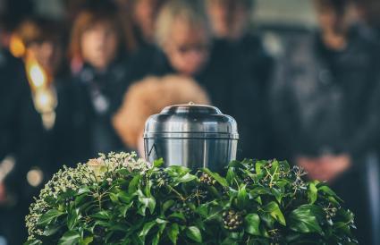 Metal urn at a memorial service
