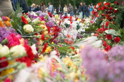 Lots of flowers in a memorial service