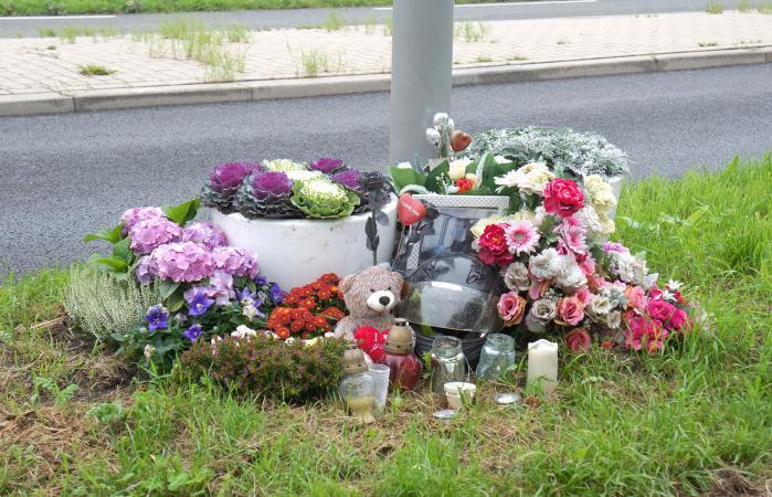 Roadside memorial with flowers