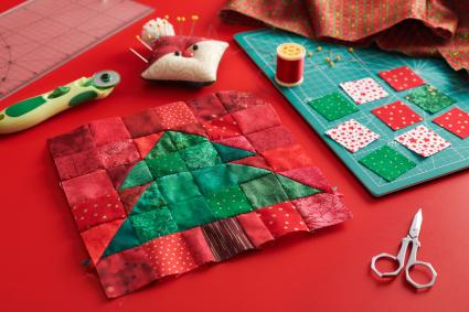 Christmas tree patchwork block