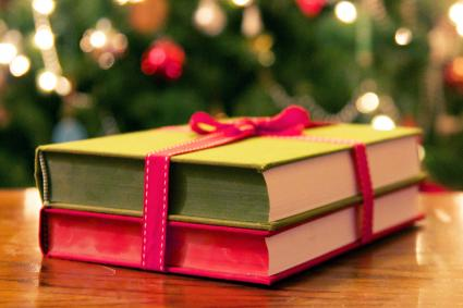 Books wrapped in red ribbon