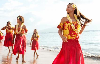 Girls wearing aloha dresses