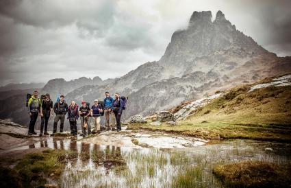 Group of hikers posing