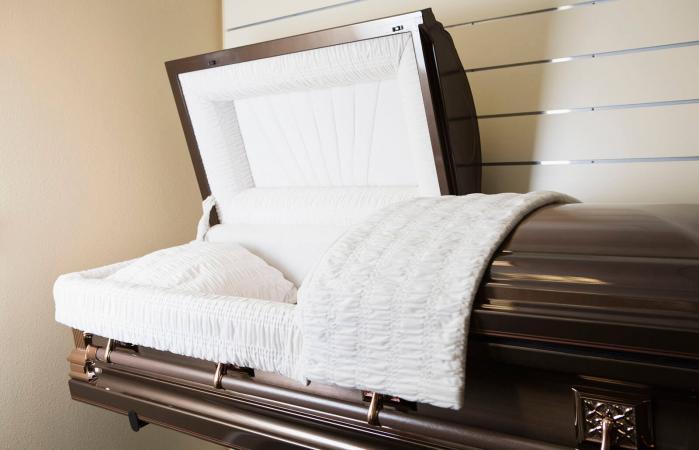 open metal casket