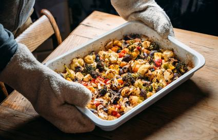 Baked vegetables with feta cheese