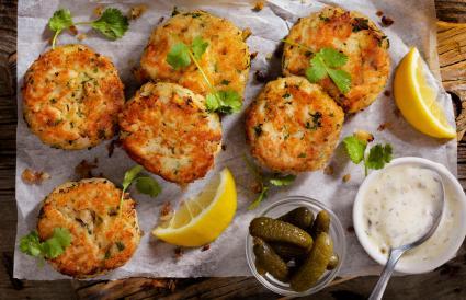 Crispy golden crab cakes