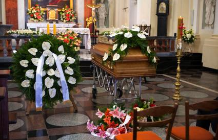 Coffin in catholic church