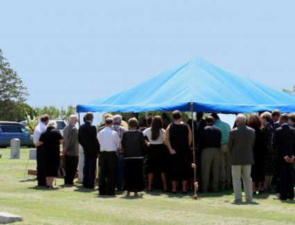 graveside funeral under a tent