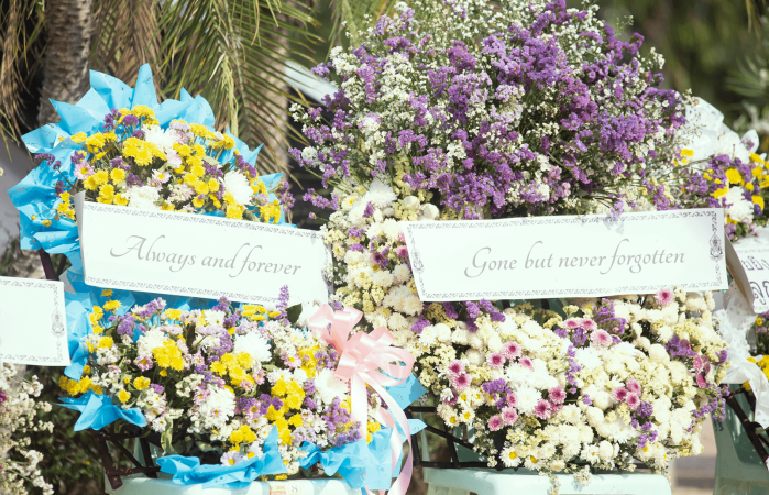 Funeral wreath messages