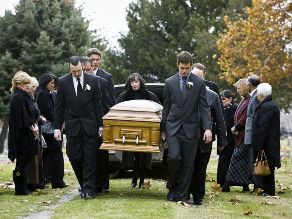 People attending a funeral dressed in black