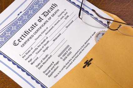 Blank Death Certificate tucked in a yellow manila envelope