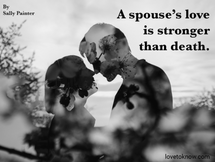 Couple kissing near trees and death of a spouse quote