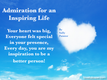 Heart shaped cloud on blue sky and a celebration of life quote