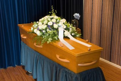 Cloth covered funeral bier