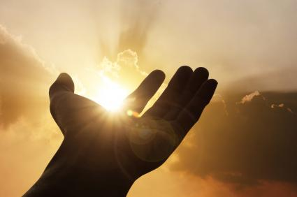Hand raised to sunlight