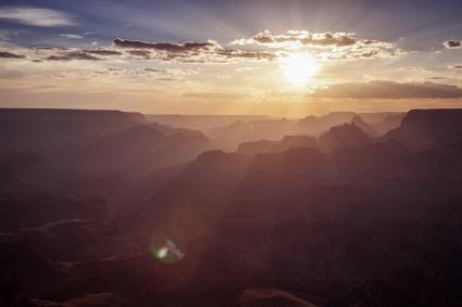 Sunset over South Rim of the Grand Canyon