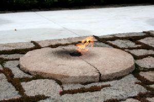 Eternal flame at the grave of President John F. Kennedy