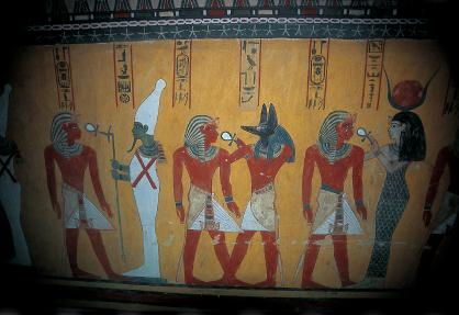 A wall painting found in an Egyptian tomb.