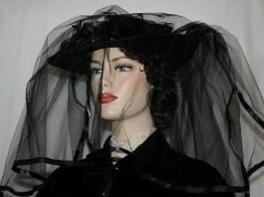 black antique mourning bonnet