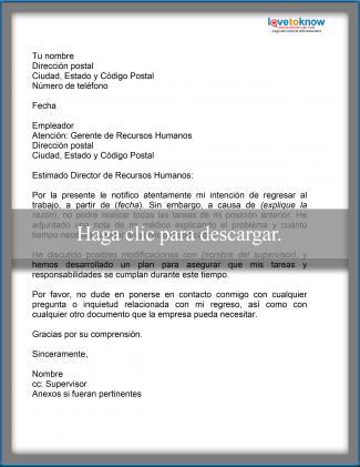 Carta de muestra en la que se expresa la incapacidad actual de realizar las labores del trabajo tal y como solían realizarse