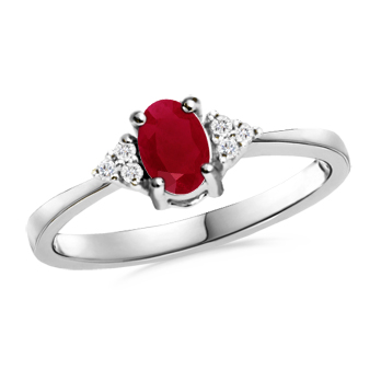 Angara Trellis Natural Ruby and Diamond Three Stone Ring in Platinum wO73SF