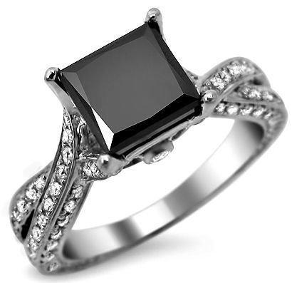 black princess cut diamond engagement ring at amazoncom - Wedding Rings With Black Diamonds