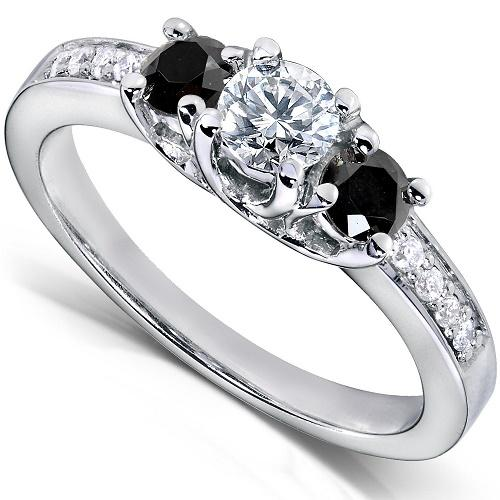 Black And White Three Stone Design At Source Antique Style Diamond Engagement Ring