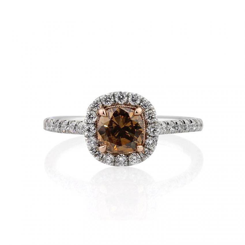 cushion jewelry yellowbrown diamond golden engagement xiao brown products wang galaxy ring xiaowang