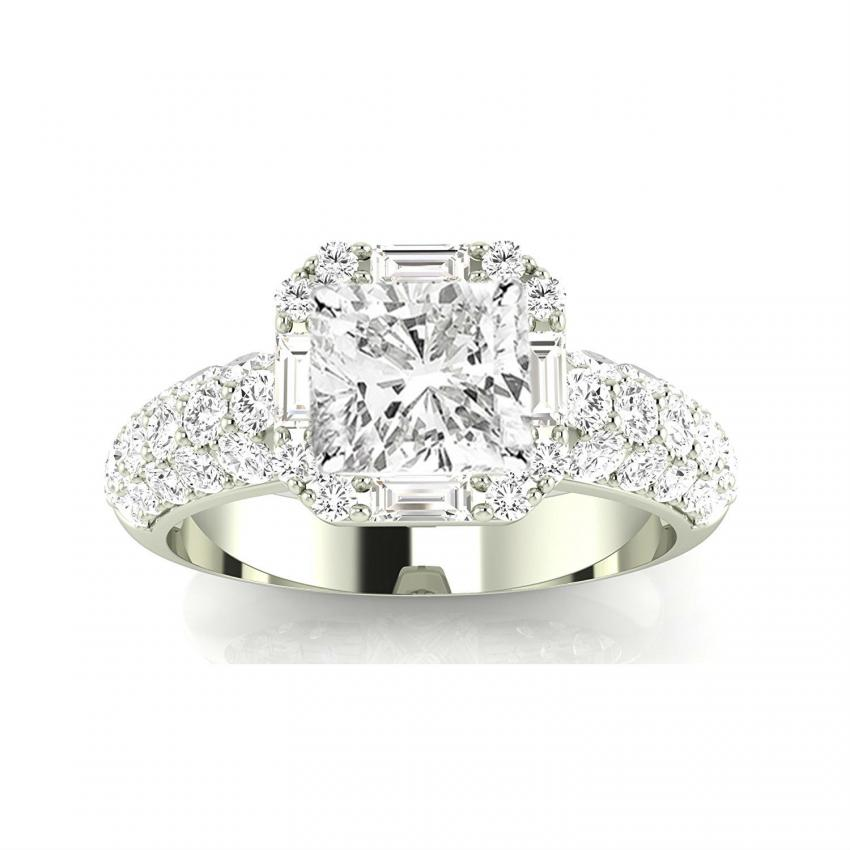 White Gold Designer Por Halo Style Baguette And Pave Set Round Diamond Engagement Ring