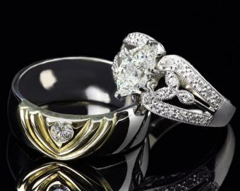 Unique His and Hers Wedding Ring Band Photos