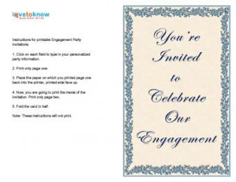 Blue Celebrate Engagement Invitation