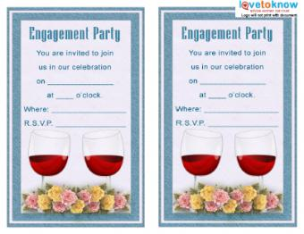 Wine and Flower Engagement Invitation