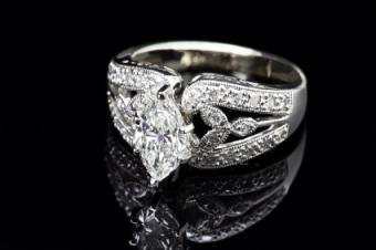 bridal set or embellished marquise engagement ring