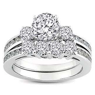 White Gold Round Diamond Ladies Bridal Ring Engagement Matching Band Set