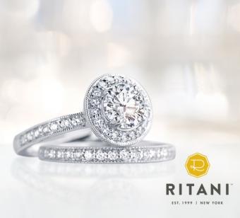 Ritani Halo engagement ring set
