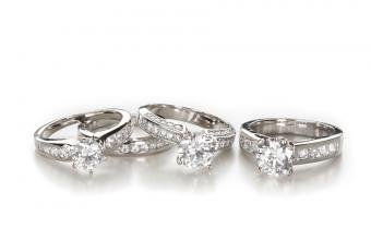 Photos of Moissanite Engagement Rings and Wedding Bands