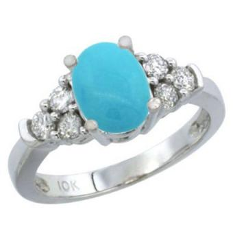 White gold diamond and turquoise ring