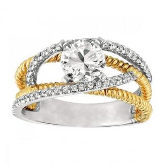 Two Tone Split Shank, Pave Set Diamond Engagement Ring designed by Gabriel & Co., available through Emma Parker & Co.