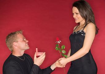 Proposing on bended knee