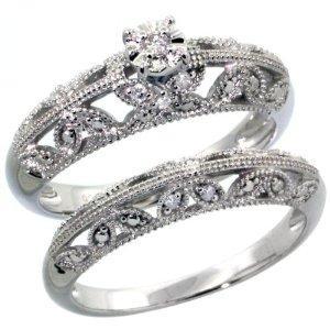 Filigree Butterfly Bridal Ring Set
