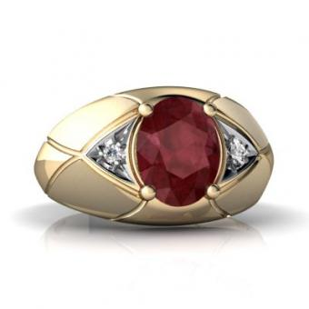 Yellow Gold Oval Genuine Ruby Men's Ring at Amazon.com
